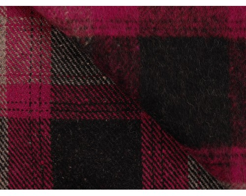 Brushed Woven Jacquard Fabric - Grey and Pink Check