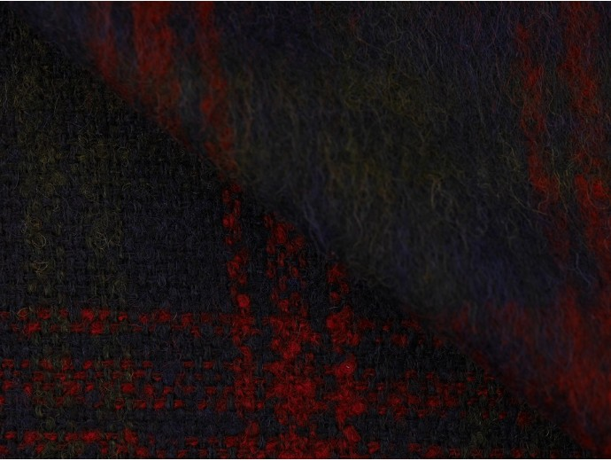 Brushed Woven Jacquard Fabric - Navy, Green and Red