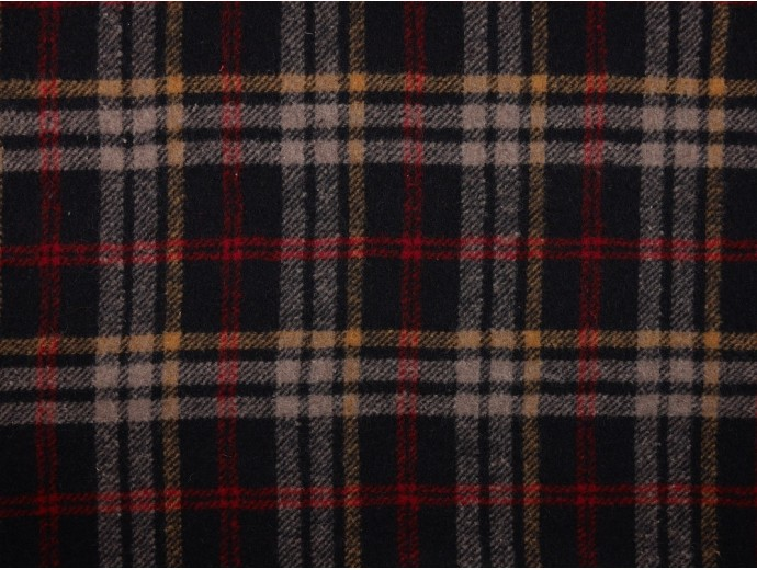 Brushed Woven Jacquard Fabric - Multi Navy Check