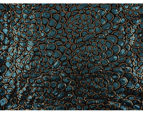 Sequined Lace Fabric - Golden Peacock