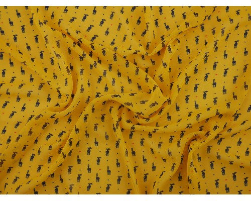Printed Chiffon Fabric - Little Deer