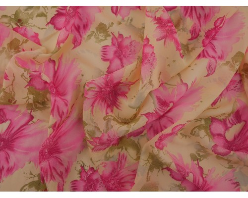 Printed Chiffon Fabric - Pink Flowers