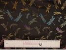 Chinese Design Jacquard Fabric - Black Dragonflies
