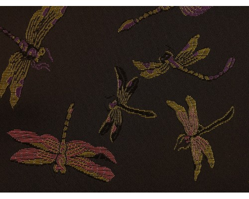 Chinese Design Jacquard Fabric - Black Dragonflies