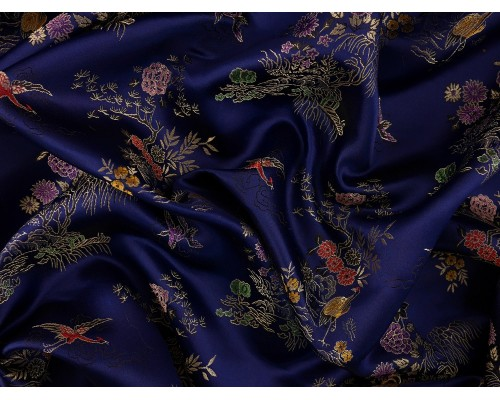 Chinese Design Jacquard Fabric - Blue Landscape