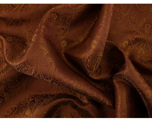 Chinese Design Jacquard Fabric - Brown Paisley