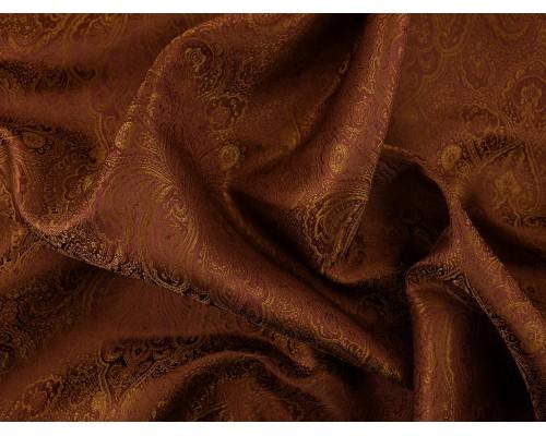 Chinese Design Jacquard Fabric - Brown Paisley