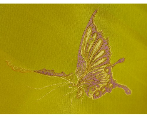Chinese Design Jacquard Fabric - Lime Butterflies