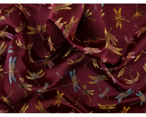 Chinese Design Jacquard Fabric - Maroon Dragonflies