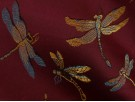 Chinese Design Jacquard Fabric - Brown Dragonflies