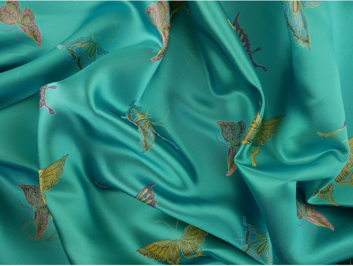 Chinese Design Jacquard Fabric - Turquoise Butterflies