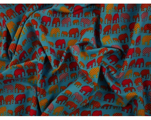 Printed Cotton Poplin Fabric - Elephants on Parade