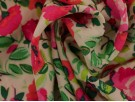 Panama Viscose Fabric - Pink Flowers and Green Leaves
