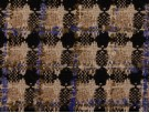 Woven Jacquard Fabric - Black, Grey and Taupe with Blue Detail