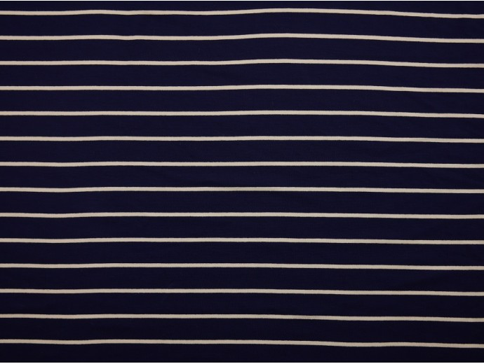 Single Jersey Stripe Fabric - Navy / White