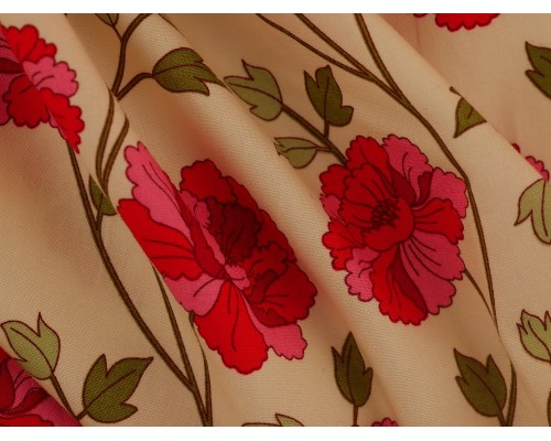 Printed Cotton Poplin Fabric -  Pink and Red Flowers on Ivory