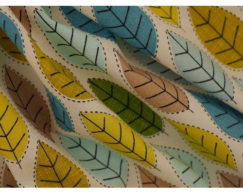 Printed Cotton Poplin Fabric -  Spring Leaves