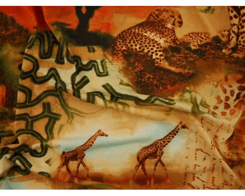 Printed Viscose Jersey Fabric - Safari
