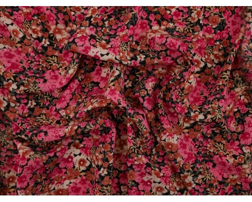 Spun Polyester Fabric - Pink Floral