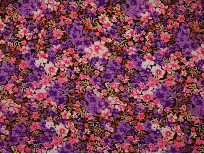 Spun Polyester Fabric - Purple Floral