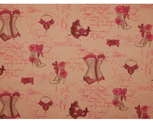 Printed Cotton Poplin Fabric -  Boudoir