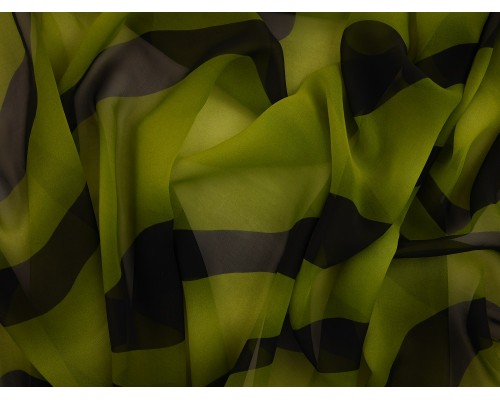 Printed Chiffon Fabric - Green and Black Stripe