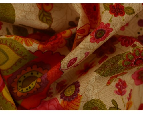 Printed Cotton Poplin Fabric -  Spice Garden