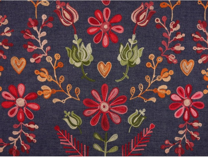 Embroidered Denim Fabric - Multi Floral