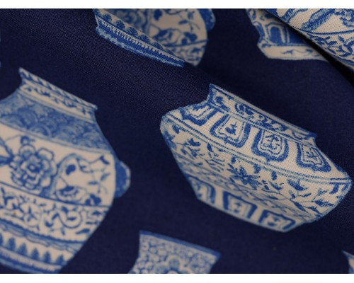 Printed Cotton Poplin Fabric -  Blue Porcelain Vases