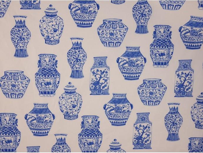 Printed Cotton Poplin Fabric -  Blue Porcelain Vases