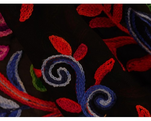 *Fabric of the Week* Embroidered Polyester Fabric - Paisley and Floral on Sheer Black