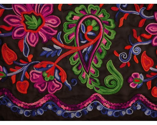 Embroidered Polyester Fabric - Paisley and Floral on Sheer Black