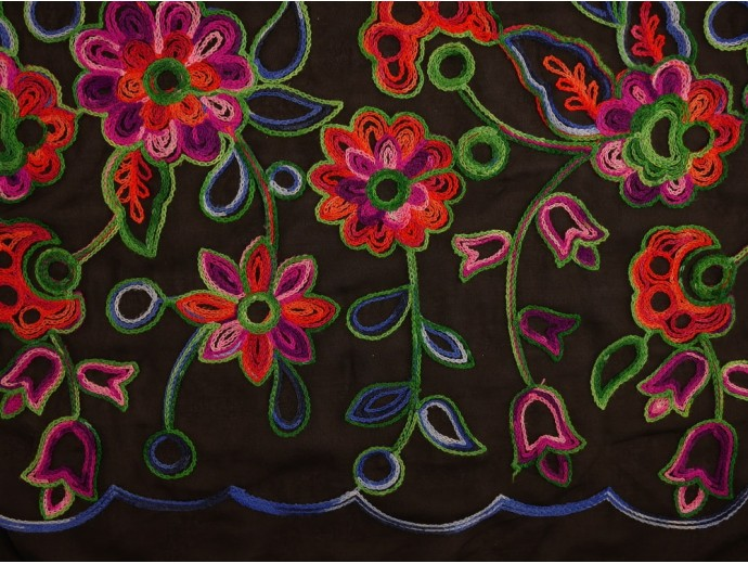 Embroidered Polyester Fabric - Floral on Sheer Black