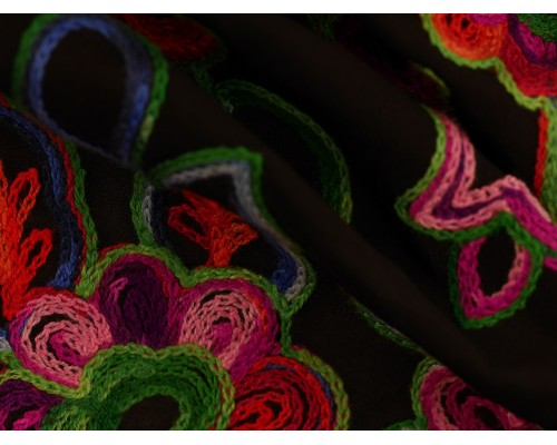 *Fabric of the Week* Embroidered Polyester Fabric - Floral on Sheer Black
