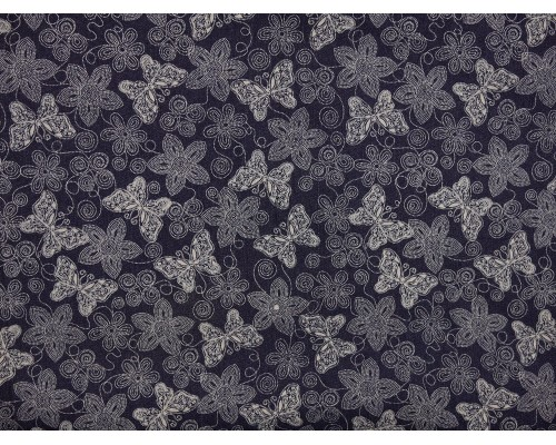 Printed Stretch Denim Fabric - Dark Navy