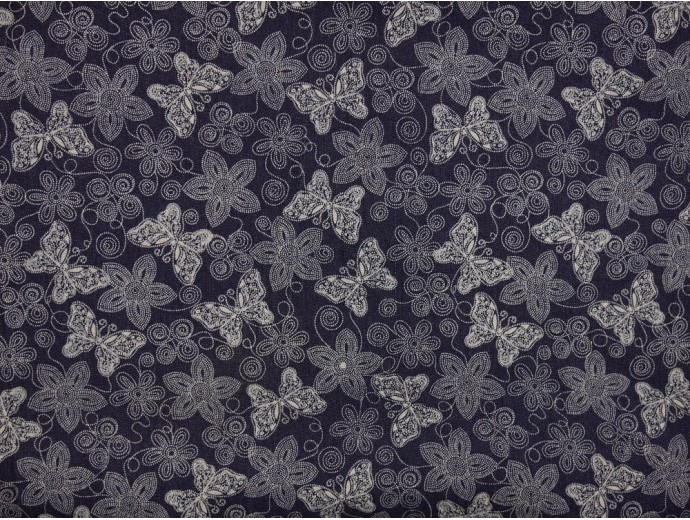 Printed Stretch Denim Fabric - Dark Navy