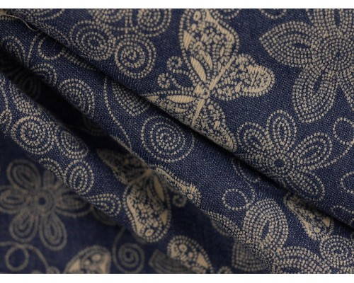 Printed Stretch Denim Fabric - Light Navy