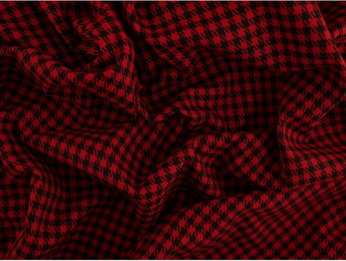 Woven Jacquard Fabric - Red and Black Check