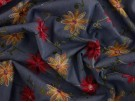 Embroidered Denim Fabric - Red and Yellow Floral on Blue