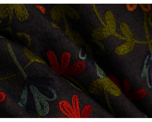 Embroidered Denim Fabric - Creeping Floral on Indigo