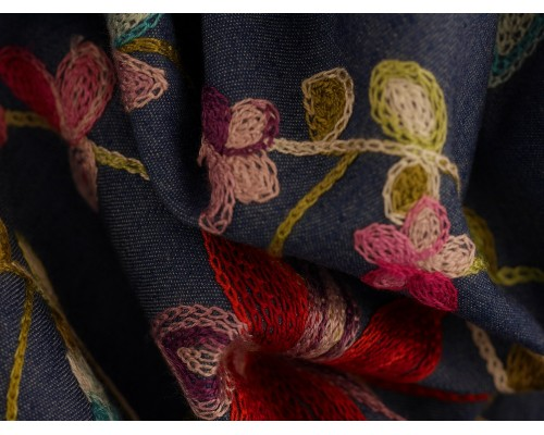 Embroidered Denim Fabric - Multi Floral on Blue