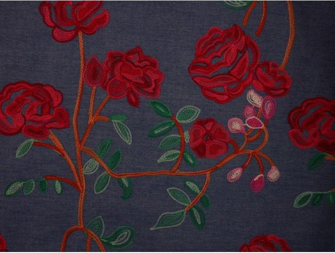Embroidered Denim Fabric - Red Roses on Blue