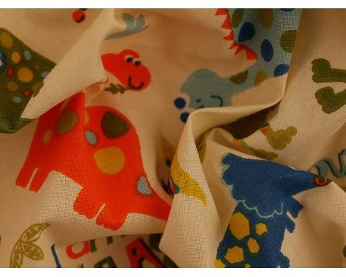 Printed Cotton Poplin Fabric - Dino Land