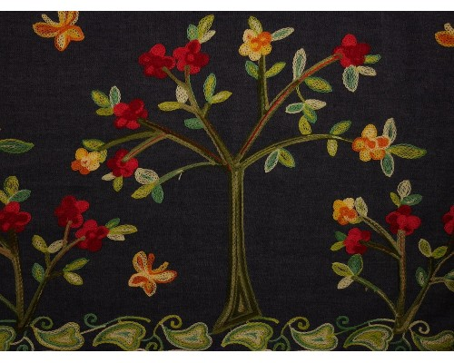 Embroidered Border Denim Fabric - Trees on Indigo