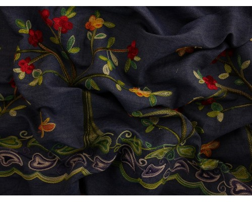 Embroidered Border Denim Fabric - Trees on Blue