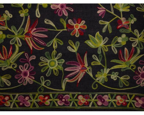 Embroidered Border Denim Fabric - Multi Floral on Indigo