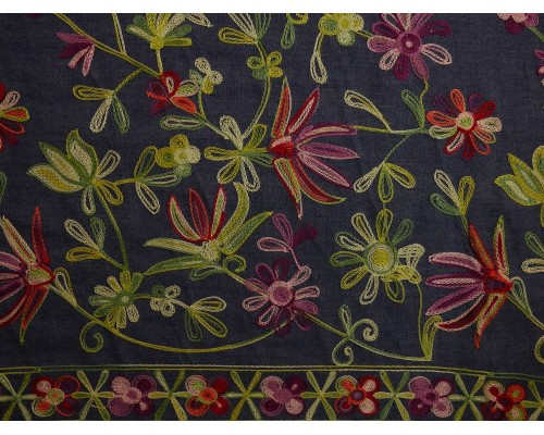 Embroidered Border Denim Fabric - Multi Floral on Blue