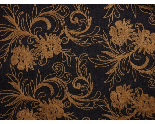 Embroidered Denim Fabric - Champagne Floral on Indigo