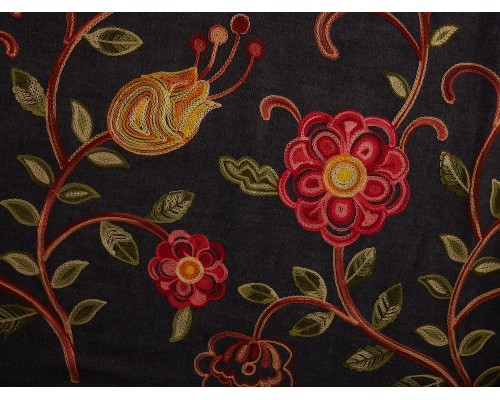 Embroidered Border Denim Fabric - Spring Floral on Indigo