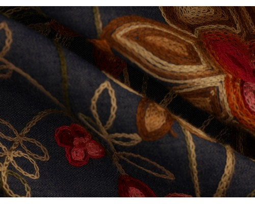 Embroidered Border Denim Fabric - Autumn Floral on Blue